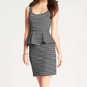 Ann Taylor black and white striped peplum dress